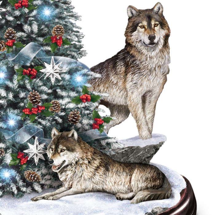 Christmas Wolf.Al Agnew Winter S Majesty Wolf Tabletop Christmas Tree