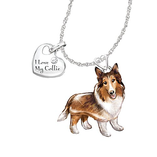 'Playful Pup' Collie Diamond Pendant