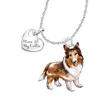 'Playful Pup' Collie Diamond Pendant