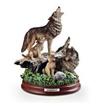 'Spring Serenade' Wolf Sculpture
