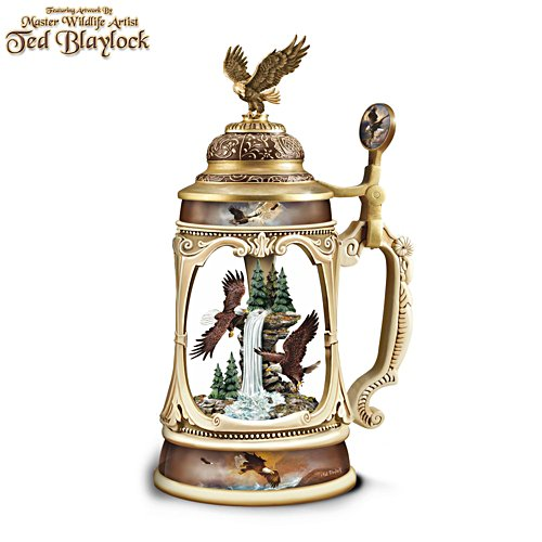 Ted Blaylock 'Sunrise Cascade' Illuminated Eagle Stein