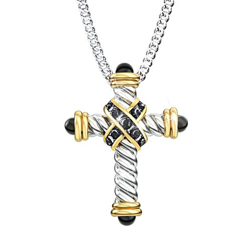 'Strength In Our Faith' Black Sapphire Men's Pendant
