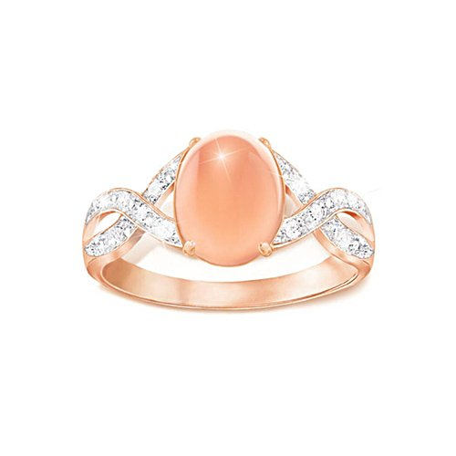 'Sweet Sorbet' Diamond And Peach Moonstone Ring