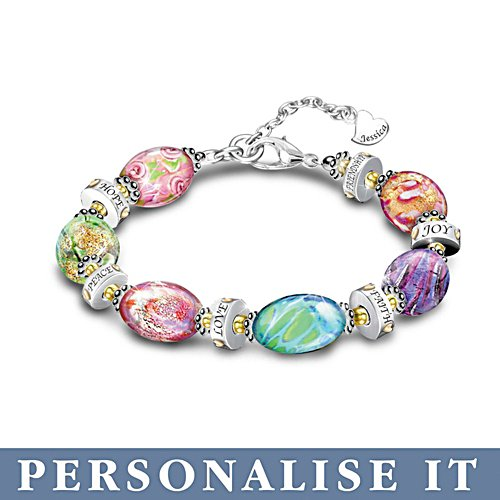 'Daughter I Wish You' Personalised Murano Style Bracelet