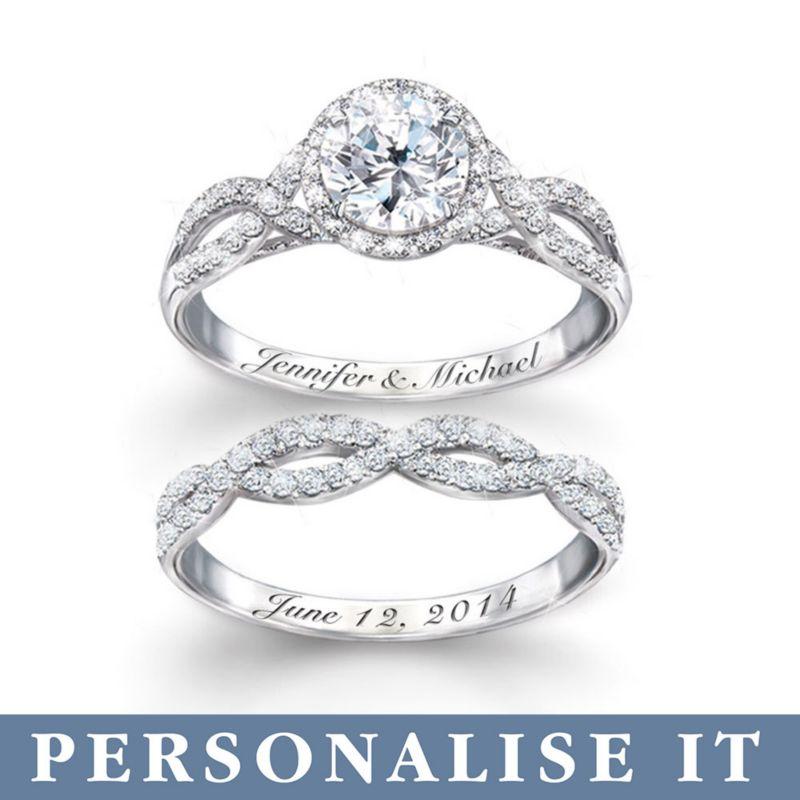 Diamonesk Personalised Bridal Ring Set Entwined Diamonesk
