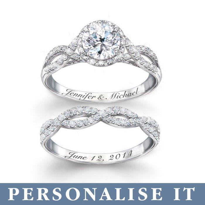 Wedding Ring Set.Entwined Diamonesk Personalised Bridal Ring Set