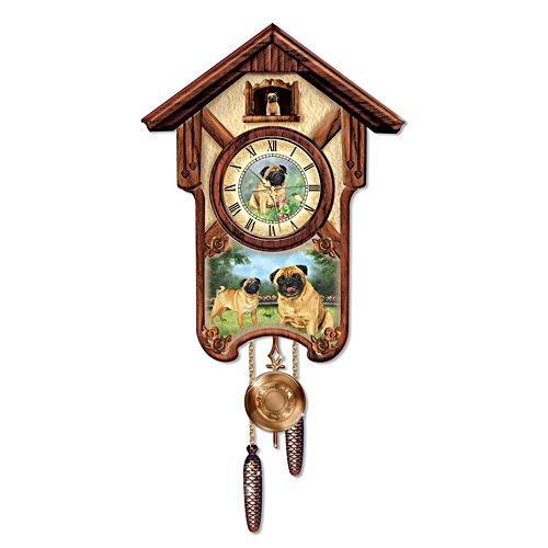 'Playful Pugs' Cuckoo Clock