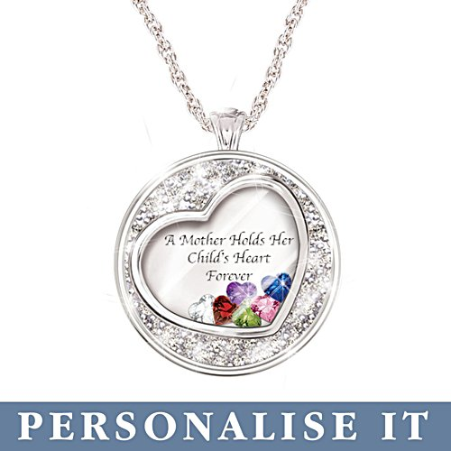'A Mother Holds Her Child's Heart' Birthstone Personalised Pendant