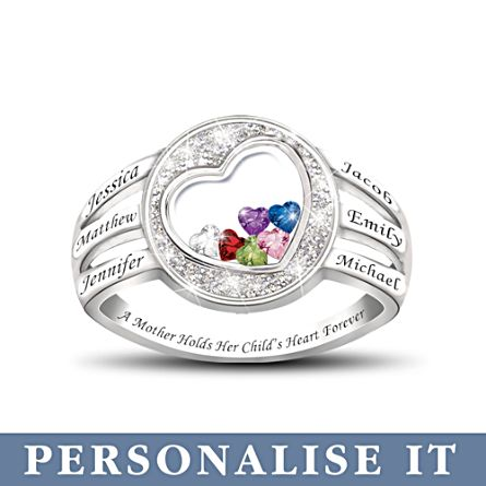 'A Mother Holds Her Child's Heart' Personalised Ring