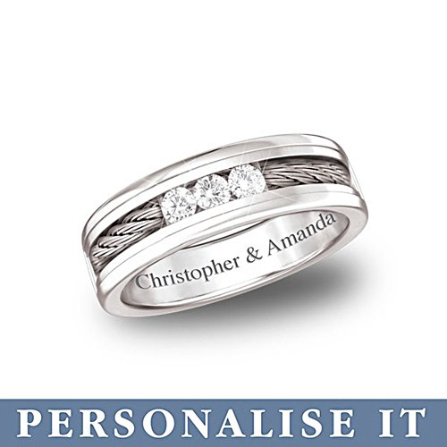 'The Strength Of Our Love' Men's Personalised Diamond Ring