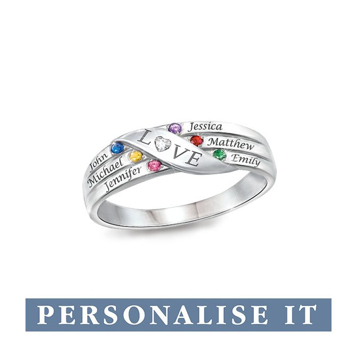59744ac78d5dff 'Love Holds Our Family Together' Personalised Diamond Ring