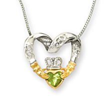 'Irish Love' Celtic Knot & Claddagh Peridot Pendant