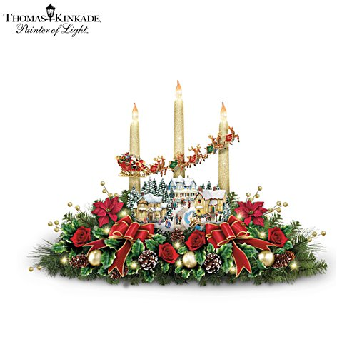 Thomas Kinkade 'The Lights Of Christmas' Table Centrepiece