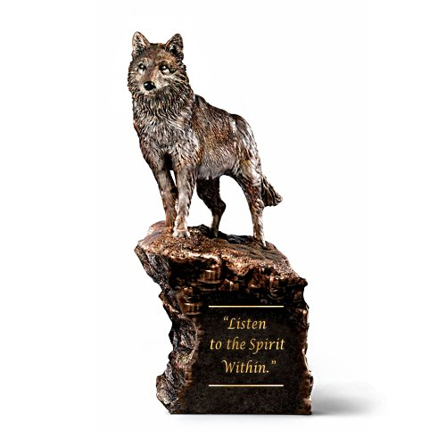 Al Agnew 'Listen To The Spirit Within' Cold-Cast Bronze Wolf Sculpture