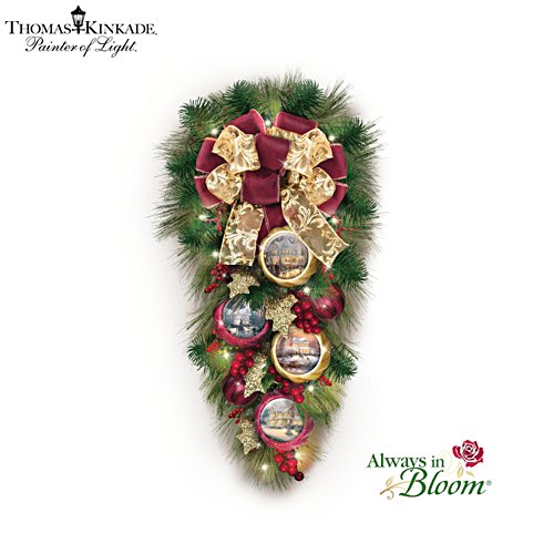 Thomas Kinkade 'Welcome Christmas' Wreath