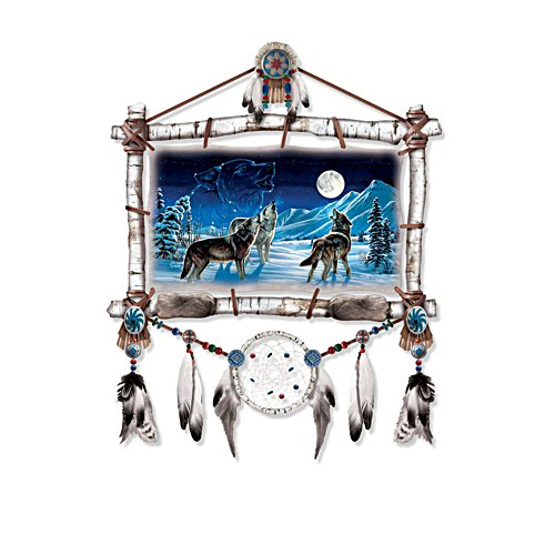 'Starlight Serenade' Illuminated Wolf Wall Décor