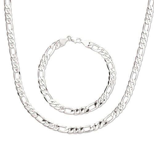 'Connoisseur Chain' Bracelet And Necklace Silver Set