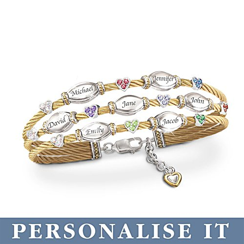 'Strength Of Family' Personalised Birthstone Bracelet