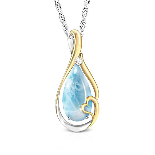 'Heaven In My Heart' Larimar And Diamond Pendant