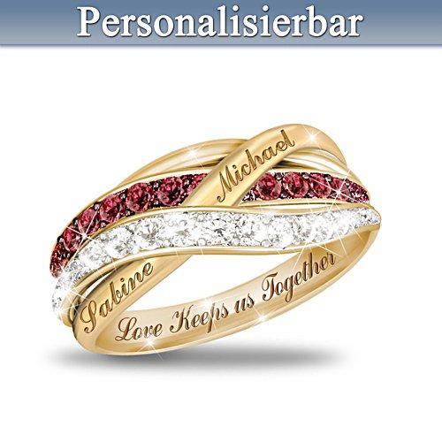 Liefde houdt ons bij elkaar — 925-sterling-zilveren diamantring - gepersonaliseerd