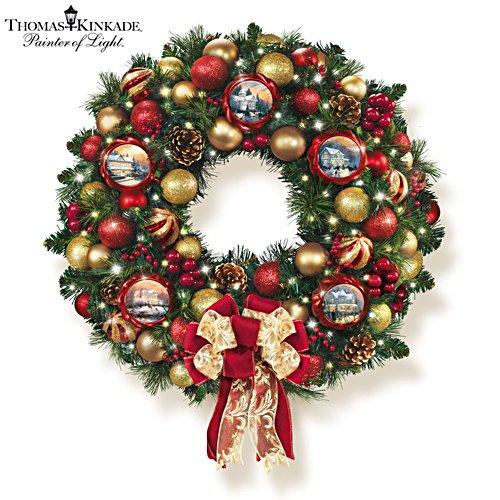 Thomas Kinkade 'Season Of Splendour' Christmas Lit Wreath