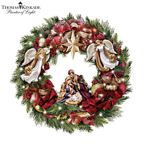 Thomas Kinkade 'Season's Blessings' Illuminated Wreath