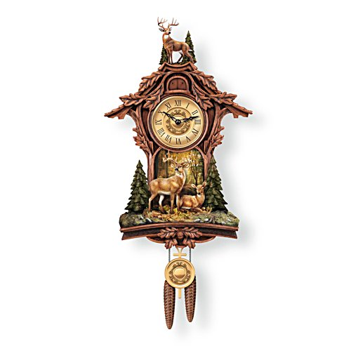 'Whitetail Gathering' Deer Cuckoo Clock