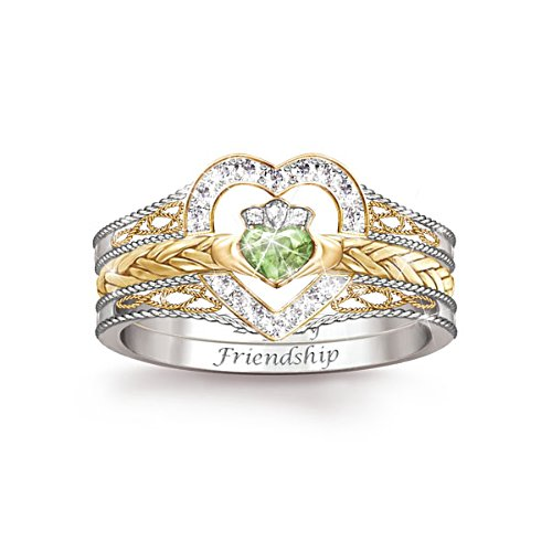 'Heart Of Ireland' Diamonesk® Claddagh Stacking Ring
