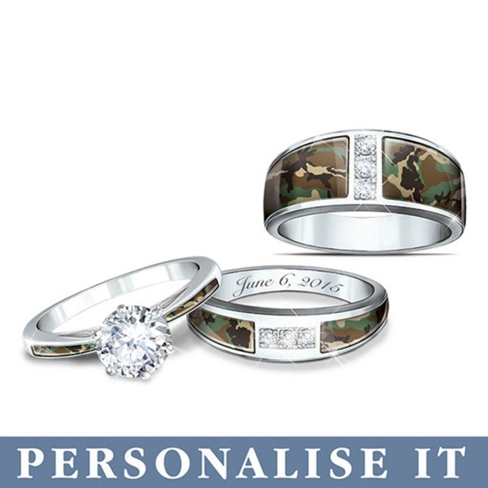 Camo His And Hers Personalised Wedding Ring Set
