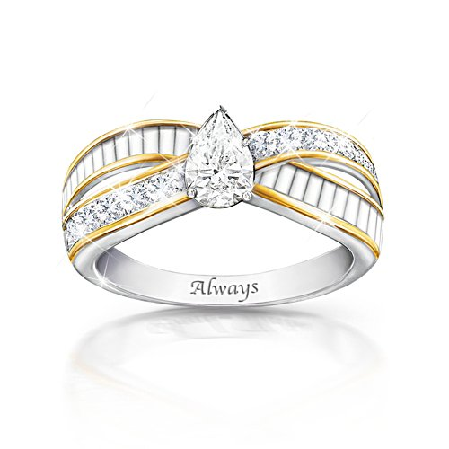 'Loving Memories' White Topaz Engraved Ring