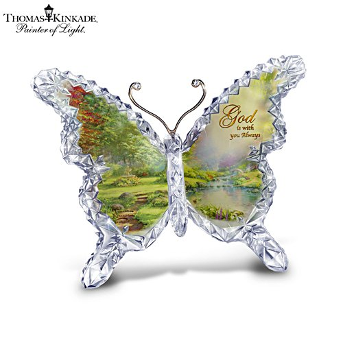 Thomas Kinkade 'God' Butterfly Crystalline Sculpture