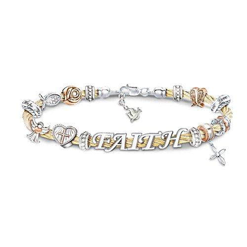 'Faith Is A Blessing' Beaded Cable Bracelet