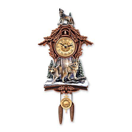 'Silent Encounter' Wolf Cuckoo Clock
