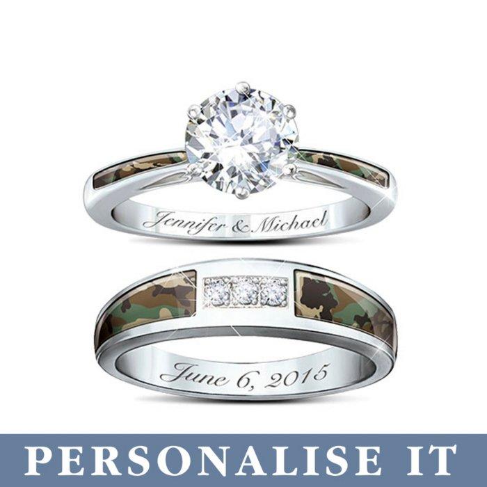 Camo Ladies Personalised Wedding Ring Set