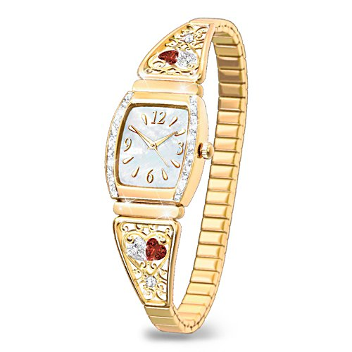 'Two Hearts, One Love' Ladies' Stretch Watch