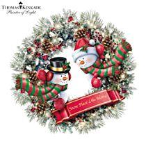 Thomas Kinkade 'Winter's Welcome' Illuminated Wreath