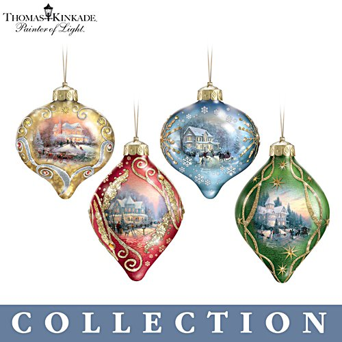 Thomas Kinkade 'Light Up The Season' Lit Glass Ornament Collection