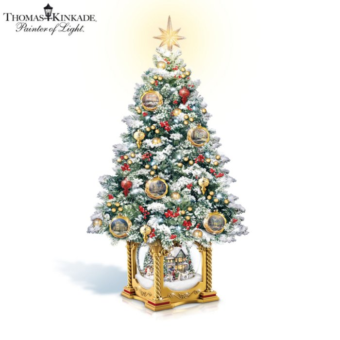 Christmas Tree Snow.Thomas Kinkade Snow Kissed Holiday Memories Tabletop Tree