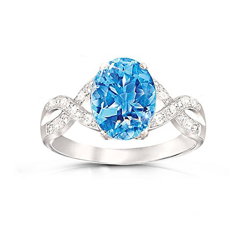 'Summer Breeze' Swiss Blue Topaz & Diamond Ring