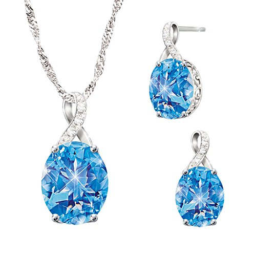 'Summer Breeze' Topaz And Diamond Necklace & Earrings Set