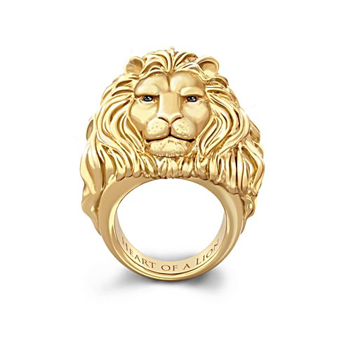 'Heart Of A Lion' 24-Carat Gold Ion-Plated Men's Ring