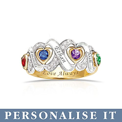 'Always My Family' Personalised Birthstone Ring