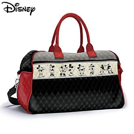 Disney Mickey Minnie Love Story Quilted Tote Weekender Bag
