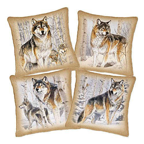 Al Agnew 'Woodland Majesty' Four-Piece Wolf Pillow Set