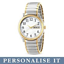 'Classic Daytimer' Easy-Read Personalised Men's Watch