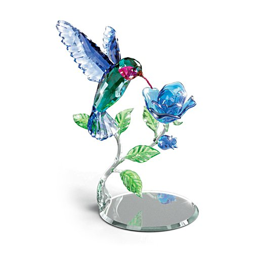 'Nature's Delicate Dance' Glass Hummingbird Sculpture