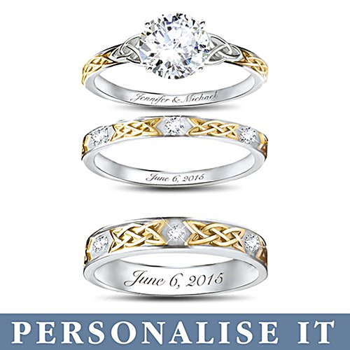 'Irish Trinity Knot' His & Hers Personalised Wedding Ring Set