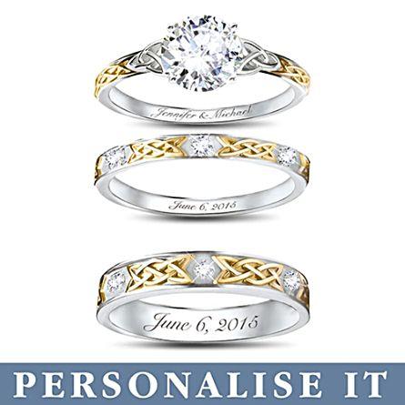'Irish Trinity Knot' His & Hers Personalised Wedding Ring Set