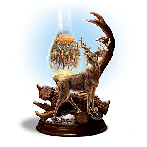 Auf der Lichtung – Glaslaterne mit Hirschskulptur