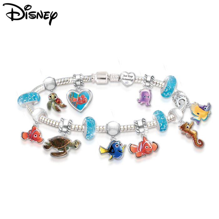 6051a8b52 Disney•Pixar FINDING NEMO 'Just Keep Swimming' Charm Bracelet